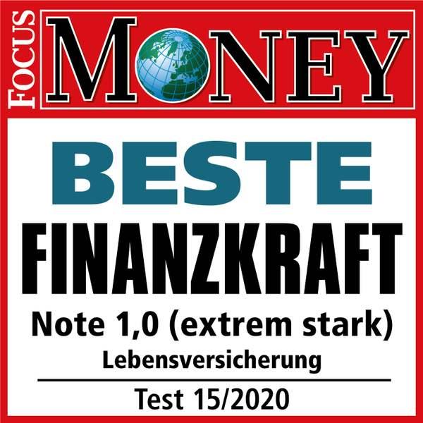 Lebensversicherung, Test Signet Focus Money, Testurteil: Beste Finanzkraft - Note: 1,0 (extrem stark), Test: 15/2020